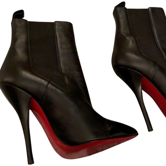 4f5b6fb29bd0 Christian Louboutin Black Leather Booties  new